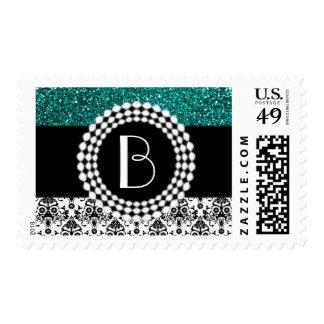 Elegant Glitter and Damask Pattern with Monogram Stamp