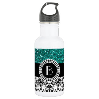 Elegant Glitter and Damask Pattern with Monogram Water Bottle