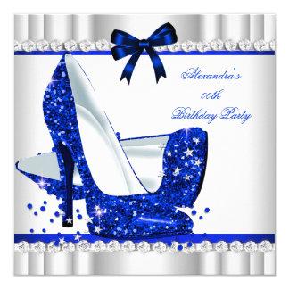 Elegant Glitter Blue Glamour High Heels Silver 3b 5.25x5.25 Square Paper Invitation Card
