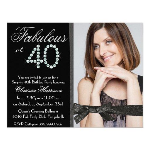 Elegant Glitter Diamond Fab 40 Photo Birthday Invitations