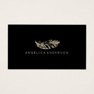 Elegant Glitter Feather Business Card