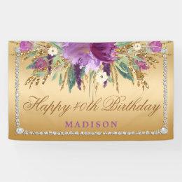 Elegant Glitter Flowers Diamonds Gold Birthday Banner