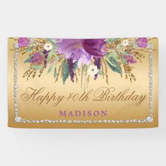 Elegant Glitter Flowers Diamonds Gold Birthday Banner
