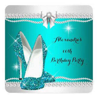 Elegant Glitter Glamour Teal High Heels Birthday Card
