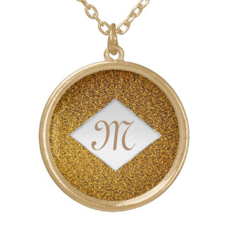 Elegant glitter gold chic monogram gold plated necklace