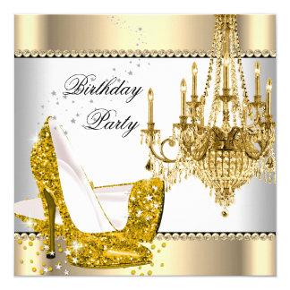 Elegant Glitter Gold Cream White Chandelier Party Invitation