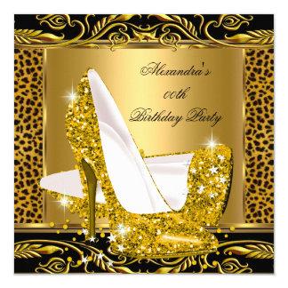 Elegant Glitter Gold Glamour High Heel Leopard 2 Card