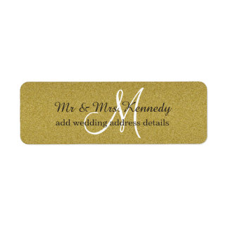 Elegant Glitter Gold Monogram Wedding Return Address Label