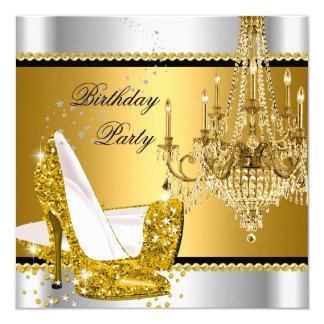Elegant Glitter Gold Silver Glamour Chandelier Invitation