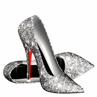 Elegant Glitter High Heel Shoes Standing Photo Sculpture