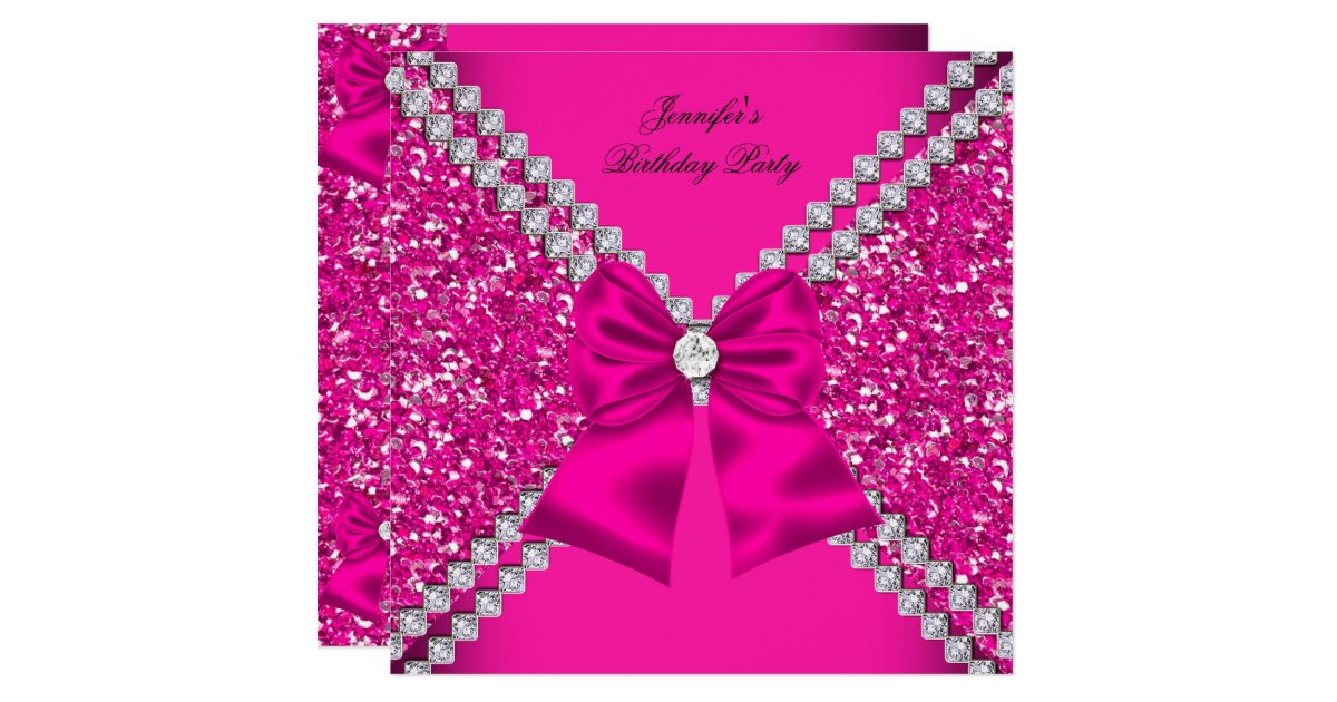 Elegant Glitter Hot Pink Diamonds Birthday Party