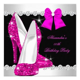 Elegant Glitter Hot Pink High Heels Birthday Card