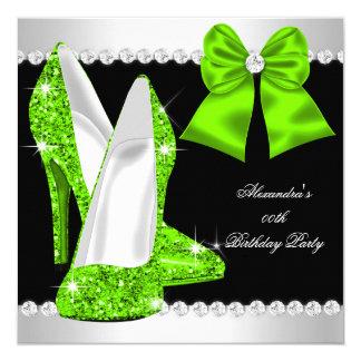 Elegant Glitter Lime Green High Heels Birthday Card