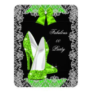 Elegant Glitter Lime Green Stiletto Fabulous Party Card