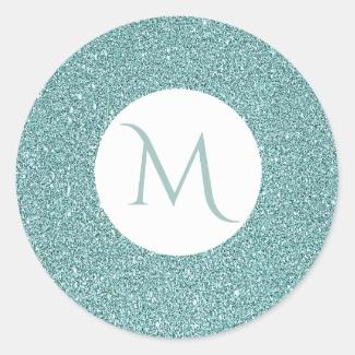 Elegant Glitter Look Sparkly Sage Green Monogram