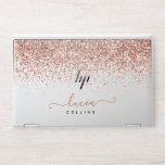"Elegant glitter pink monogram block HP laptop skin<br><div class=""desc"">elegant name block pinkA personalized and elegant monogram faux salmon pink glitter name and a white block color. custom charm and fashion. This is a printed image,  there are no glitter elements or shine to it.</div>"