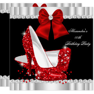 Elegant Glitter Red Glamour High Heels Birthday Card