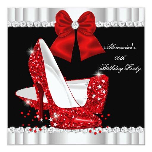 Elegant Glitter Red Glamour High Heels Birthday Card | Zazzle