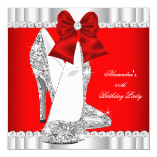 Elegant Glitter Red Glamour High Heels Silver 2 Card