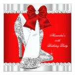 Elegant Glitter Red Glamour High Heels Silver 2 Invitation