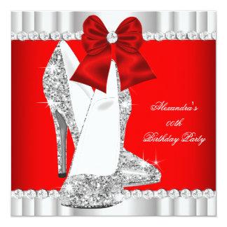 Elegant Glitter Red Glamour High Heels Silver 2 Invitation