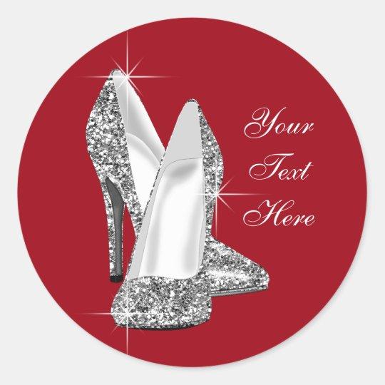 Elegant Glitter Red High Heel Shoe Stickers