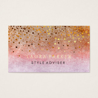 Elegant Glitter Subtle Pink Orange  Faux Confetti Business Card