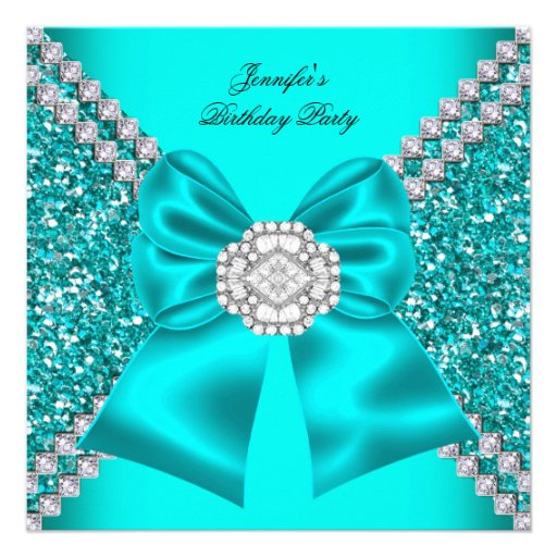 Elegant Glitter Teal Blue Diamonds Birthday Party Announcements