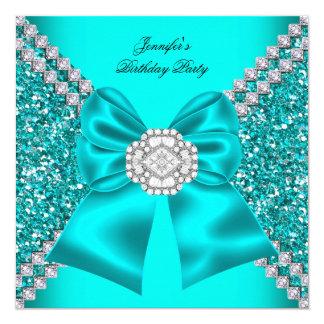 Elegant Glitter Teal Blue Diamonds Birthday Party 5.25x5.25 Square Paper Invitation Card