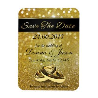 Elegant Glitter Wedding Rings Save the Date Magnet