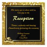 Elegant Glitter Wedding Rings - Wedding Reception Invitation