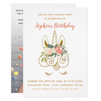 Elegant Glittering Unicorn Floral Birthday Photo Card