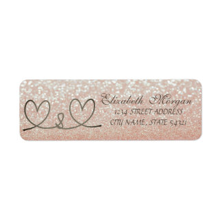Elegant Glittery  Bokeh ,Rope Hearts Address Label