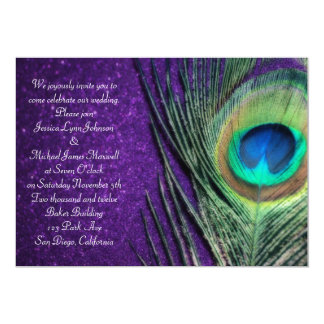 Elegant Glittery Purple Peacock Wedding 5x7 Paper Invitation Card