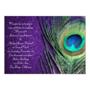 Elegant Glittery Purple Peacock Wedding 5x7 Paper Invitation Card