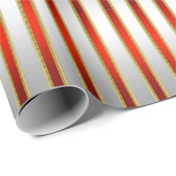 Elegant Glitzy Shiny Silver and Red Stripes Wrapping Paper