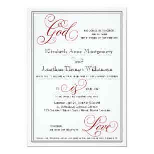 Elegant God Is Love Christian Wedding Invitation