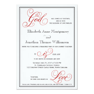 Elegant God is Love Christian Wedding Invitation