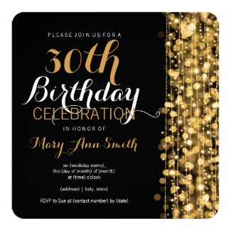 Elegant Gold 30th Birthday Party Sparkles Invitation