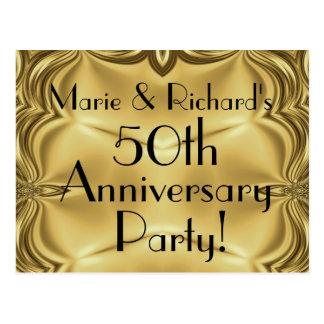 Elegant Gold 50th Anniversary Invitation Postcards