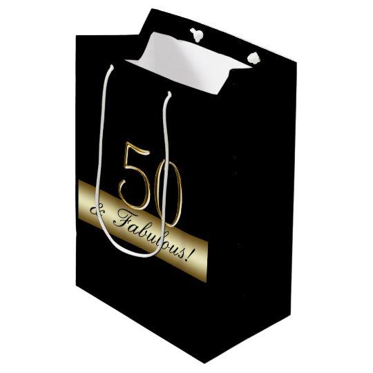 Elegant Gold 50th Birthday 50 And Fabulous Medium Gift Bag