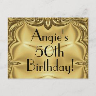 Birthday invitation postcards zazzle elegant gold 50th birthday invitation postcards filmwisefo