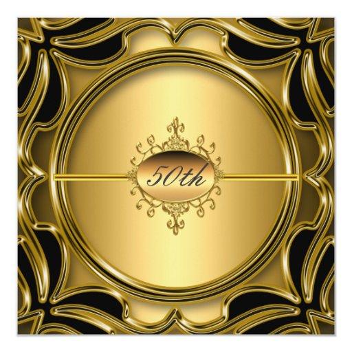 Elegant Gold 50th Birthday Party Anniversary Gold Card