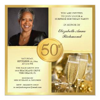 "Elegant Gold 50th Birthday Party Photo Invitations 5.25"" Square Invitation Card"