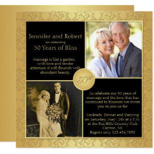 Elegant Gold 50th Wedding Anniversary Invitation