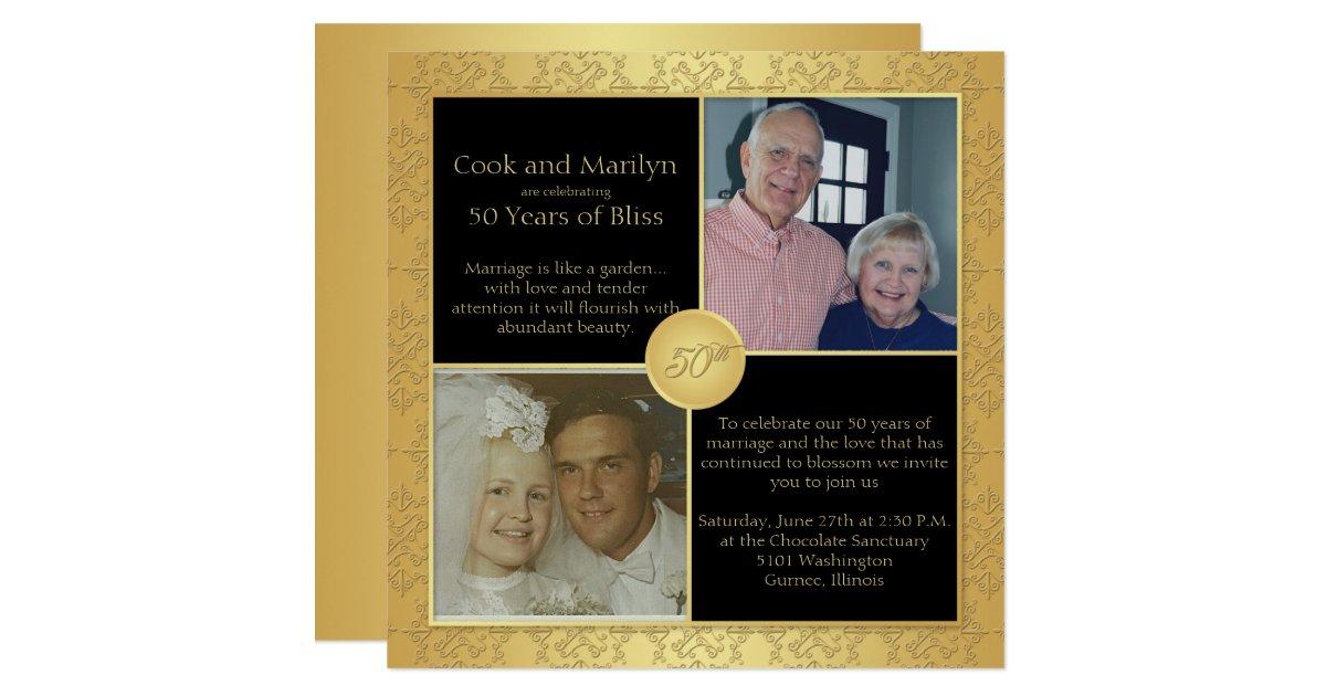 Elegant Gold 50th Wedding Anniversary Invitation 5 Zazzle Com