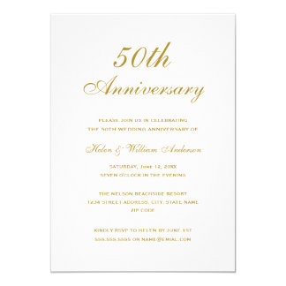 Elegant Gold 50th Wedding Anniversary Invitations