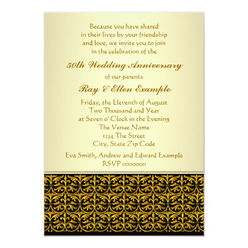 Golden Wedding Anniversary Gift Experiences : Elegant Gold 50th Wedding Anniversary Invitations Zazzle