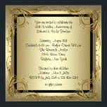 """Elegant Gold 50th Wedding Anniversary Party Card<br><div class=""""desc"""">Gold swirls gold 50th wedding anniversary party invitation. Black &amp; gold swirls gold 50th wedding anniversary party invitation is easily customized for your event by adding your event details,  font style,  font size &amp; color,  and wording.</div>"""