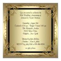 Elegant Gold 50th Wedding Anniversary Party Card